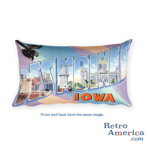 Greetings from Des Moines Iowa Throw Pillow 2