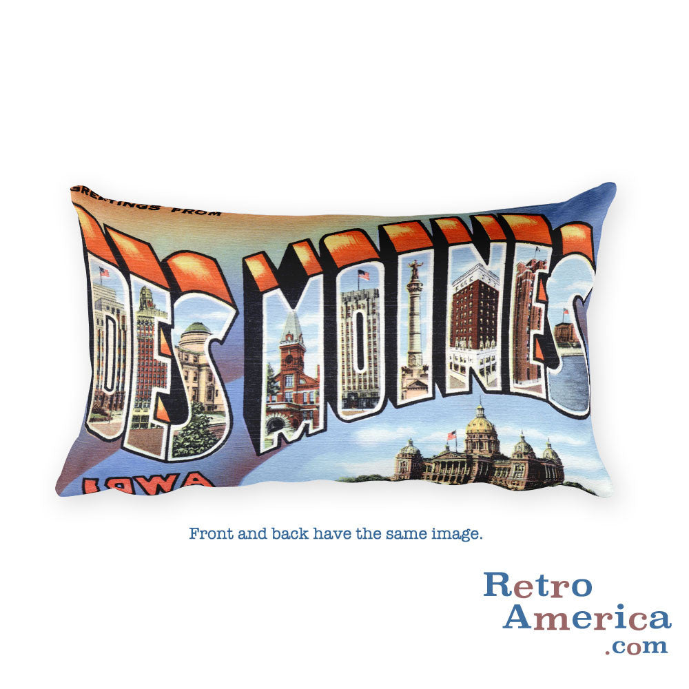 Greetings from Des Moines Iowa Throw Pillow 3