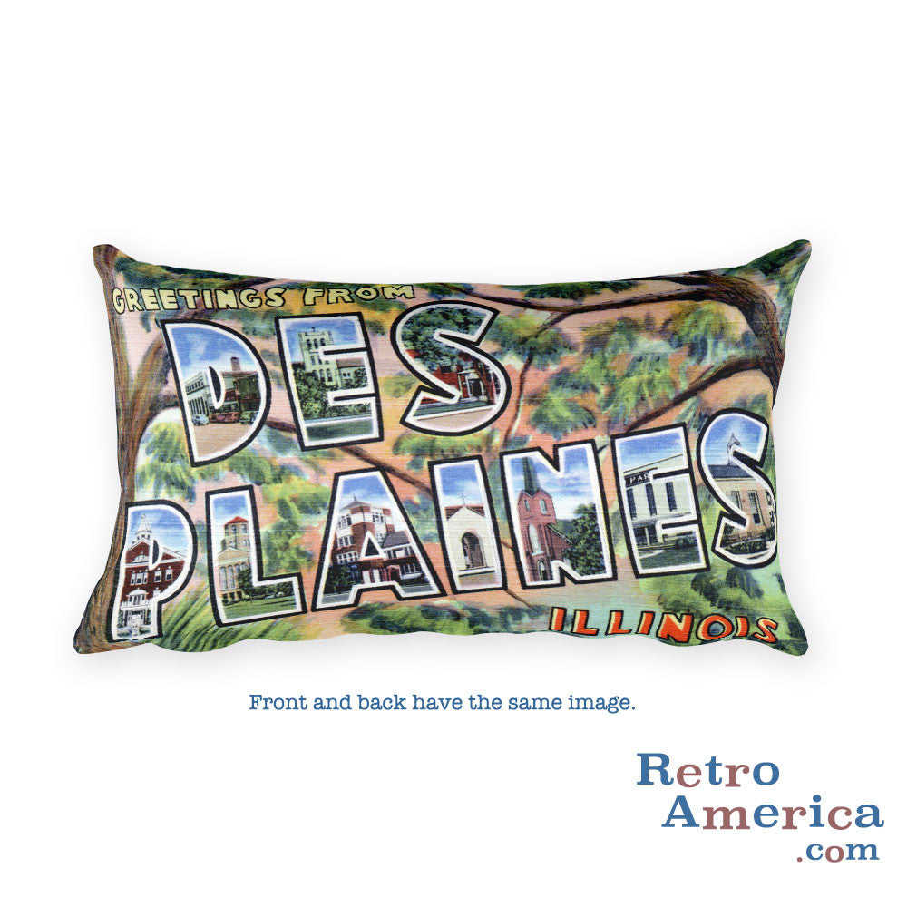 Greetings from Des Plaines Illinois Throw Pillow