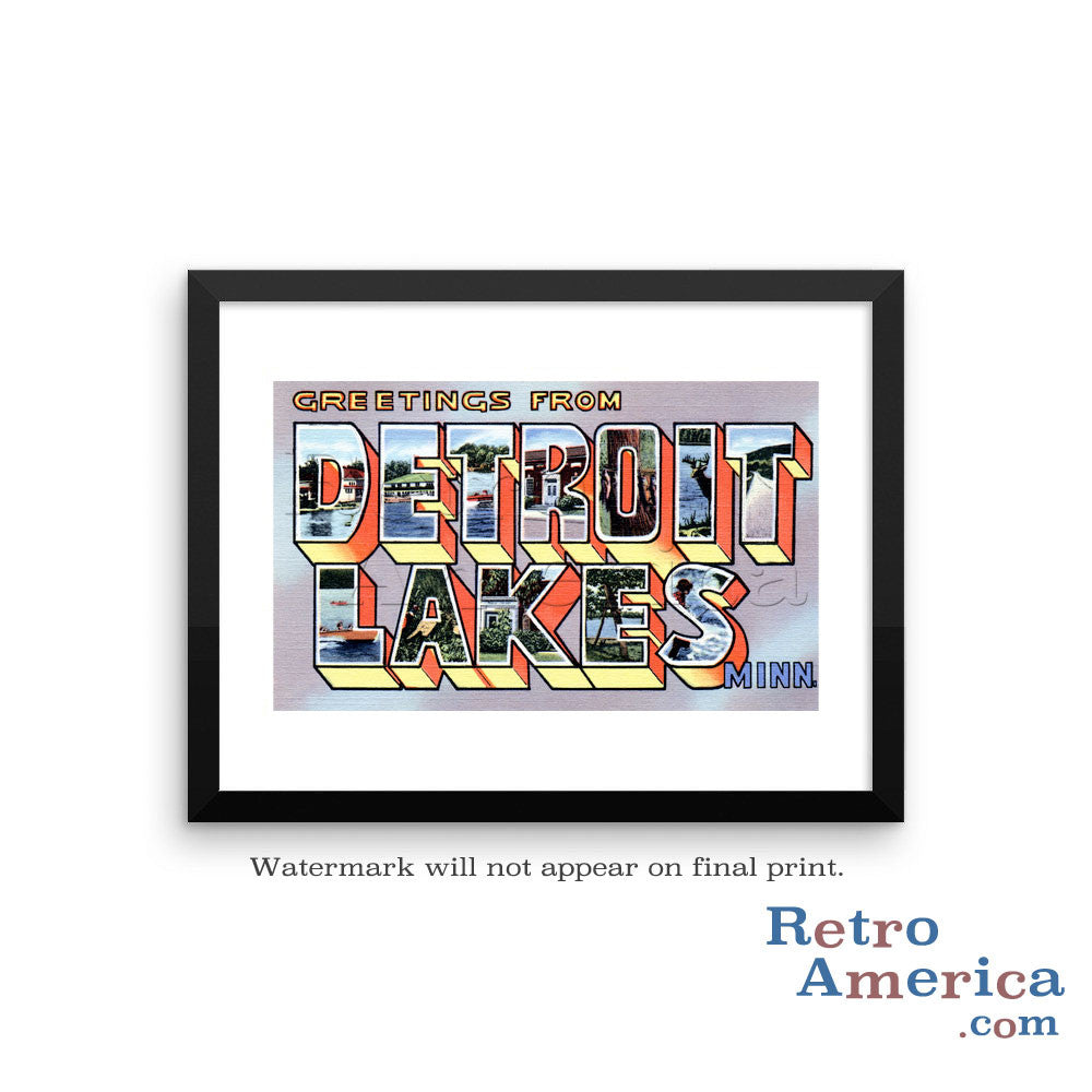 Greetings from Detroit Lakes Minnesota MN Postcard Framed Wall Art