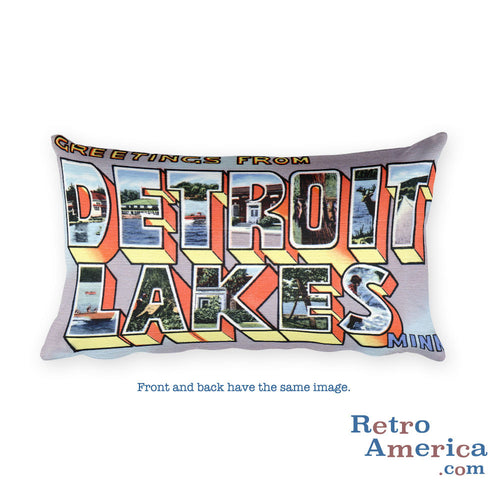 Greetings from Detroit Lakes Minnesota Throw Pillow
