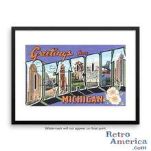 Greetings from Detroit Michigan MI 1 Postcard Framed Wall Art