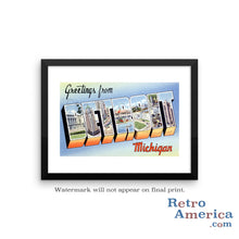 Greetings from Detroit Michigan MI 2 Postcard Framed Wall Art