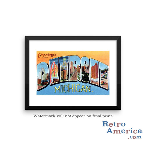 Greetings from Detroit Michigan MI 3 Postcard Framed Wall Art