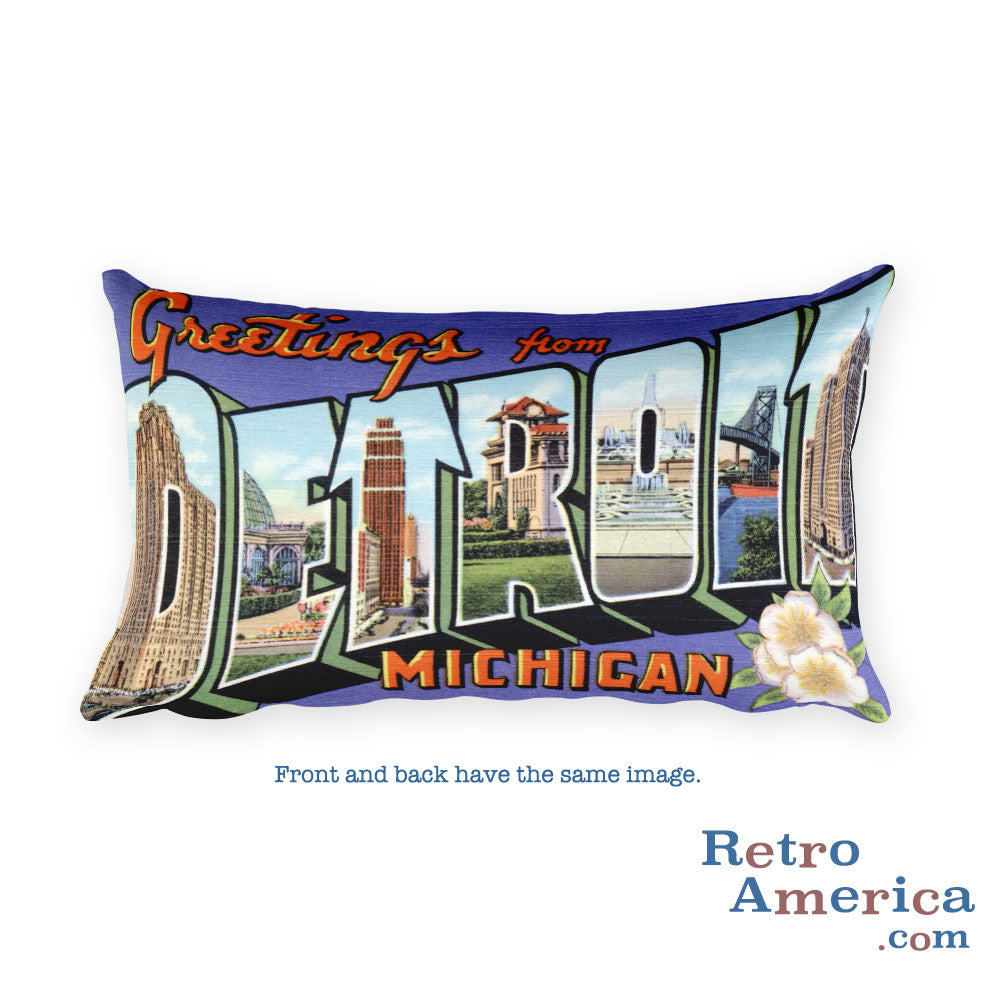 Greetings from Detroit Michigan Throw Pillow 1