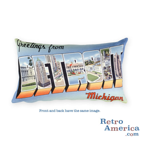 Greetings from Detroit Michigan Throw Pillow 2