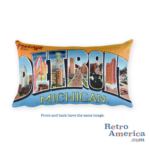 Greetings from Detroit Michigan Throw Pillow 3