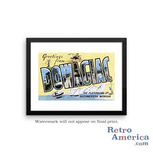 Greetings from Dowagiac Michigan MI Postcard Framed Wall Art