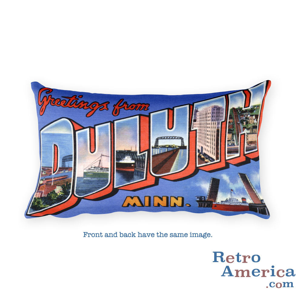 Greetings from Duluth Minnesota Throw Pillow