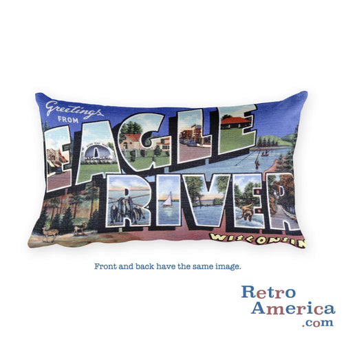 Greetings from Eagle River Wisconsin Throw Pillow