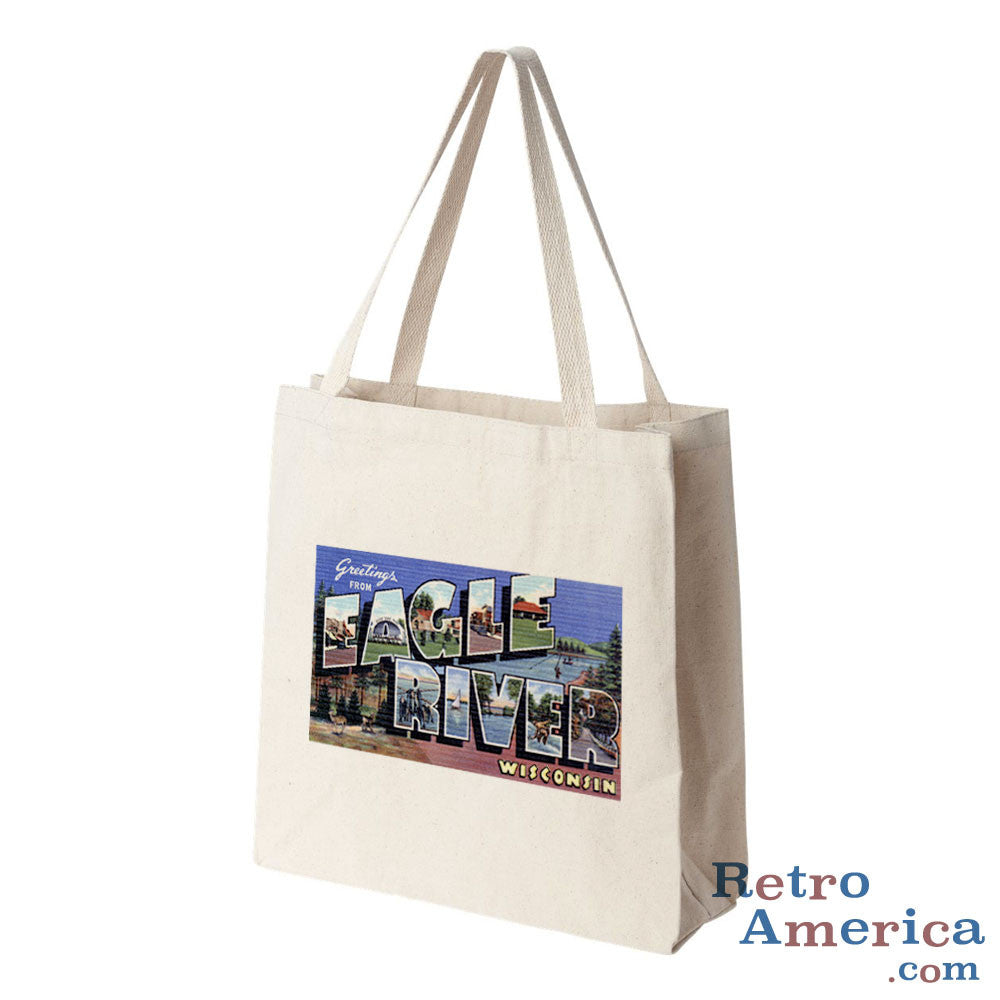 Greetings from Eagle River Wisconsin WI Postcard Tote Bag