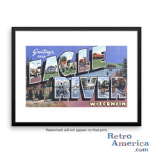 Greetings from Eagle River Wisconsin WI Postcard Framed Wall Art