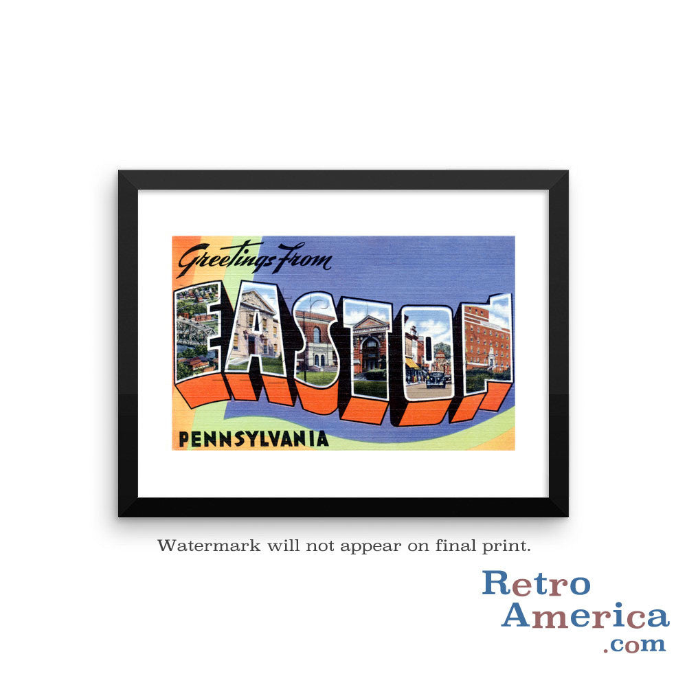 Greetings from Easton Pennsylvania PA Postcard Framed Wall Art
