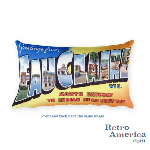 Greetings from Eau Claire Wisconsin Throw Pillow