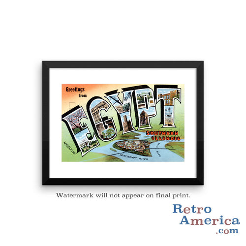 Greetings from Egypt Illinois IL Postcard Framed Wall Art