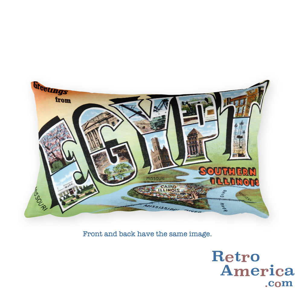 Greetings from Egypt Illinois Throw Pillow