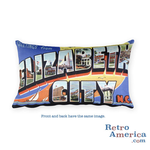 Greetings from Elizabeth City North Carolina Throw Pillow