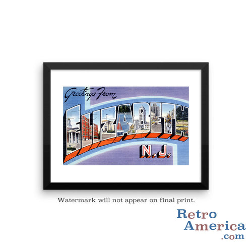 Greetings from Elizabeth New Jersey NJ Postcard Framed Wall Art