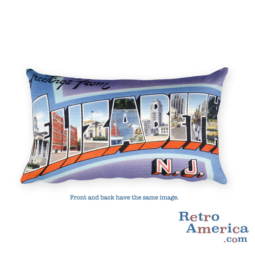 Greetings from Elizabeth New Jersey Throw Pillow