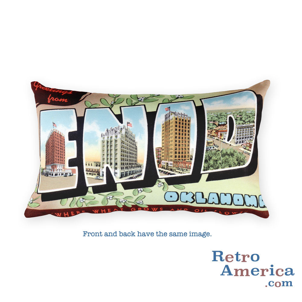 Greetings from Enid Oklahoma Throw Pillow