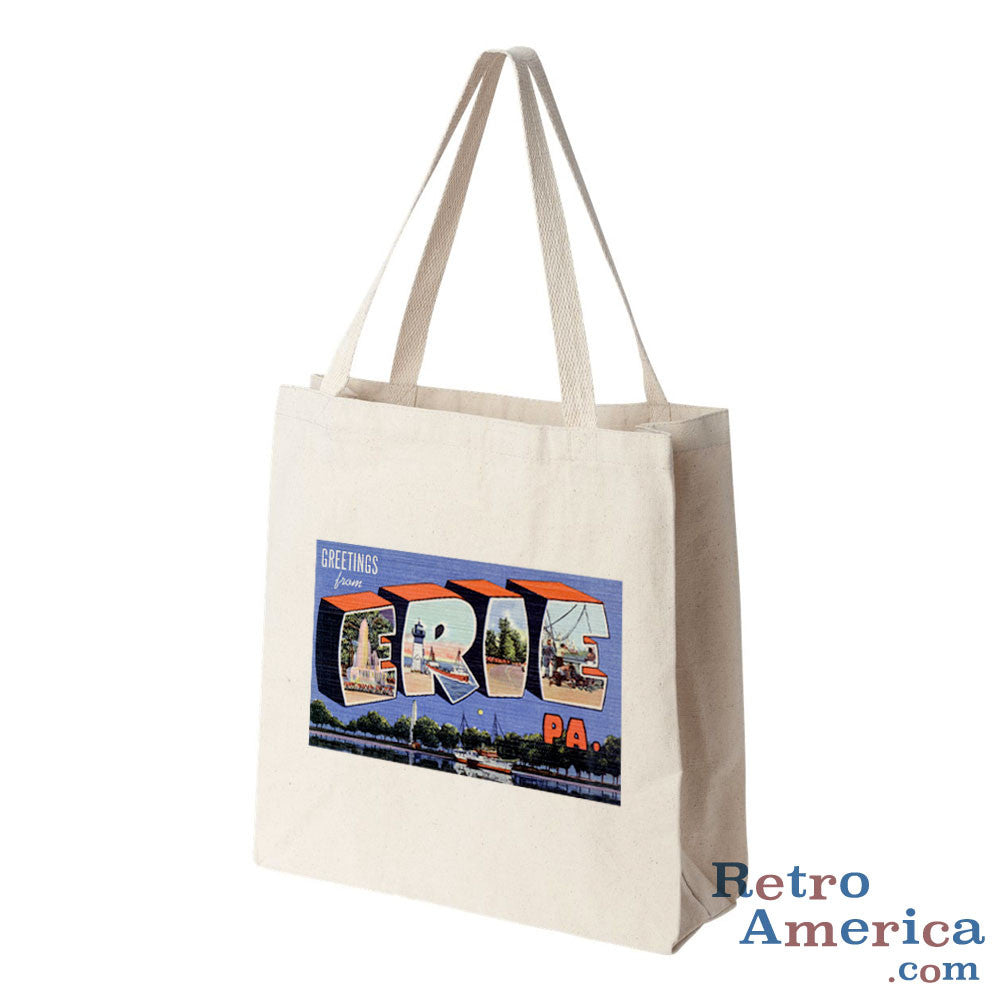 Greetings from Erie Pennsylvania PA Postcard Tote Bag