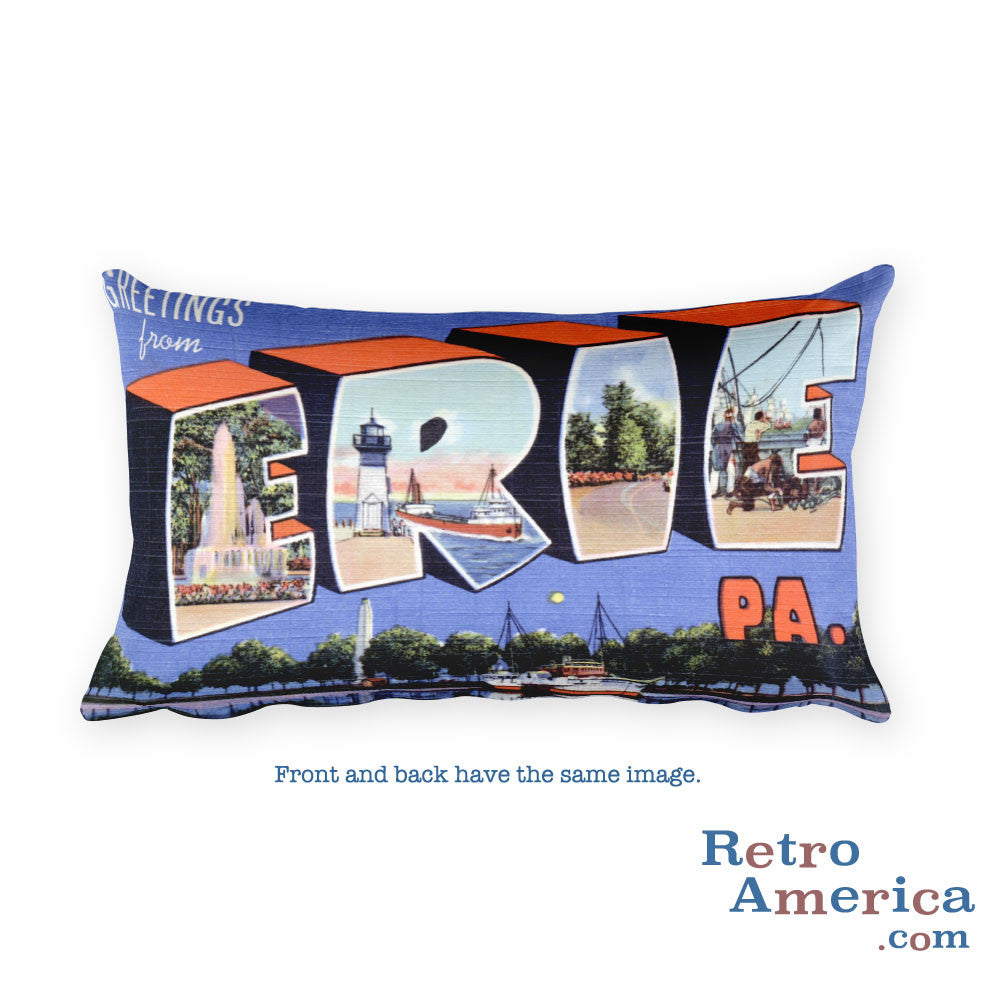 Greetings from Erie Pennsylvania Throw Pillow