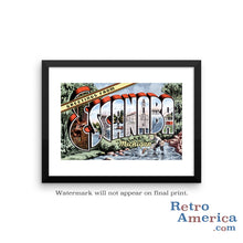 Greetings from Escanaba Michigan MI Postcard Framed Wall Art