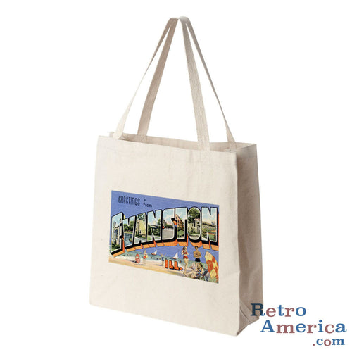 Greetings from Evanston Illinois IL Postcard Tote Bag