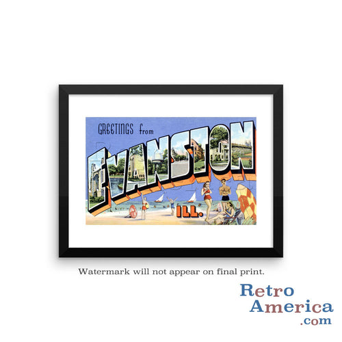 Greetings from Evanston Illinois IL Postcard Framed Wall Art
