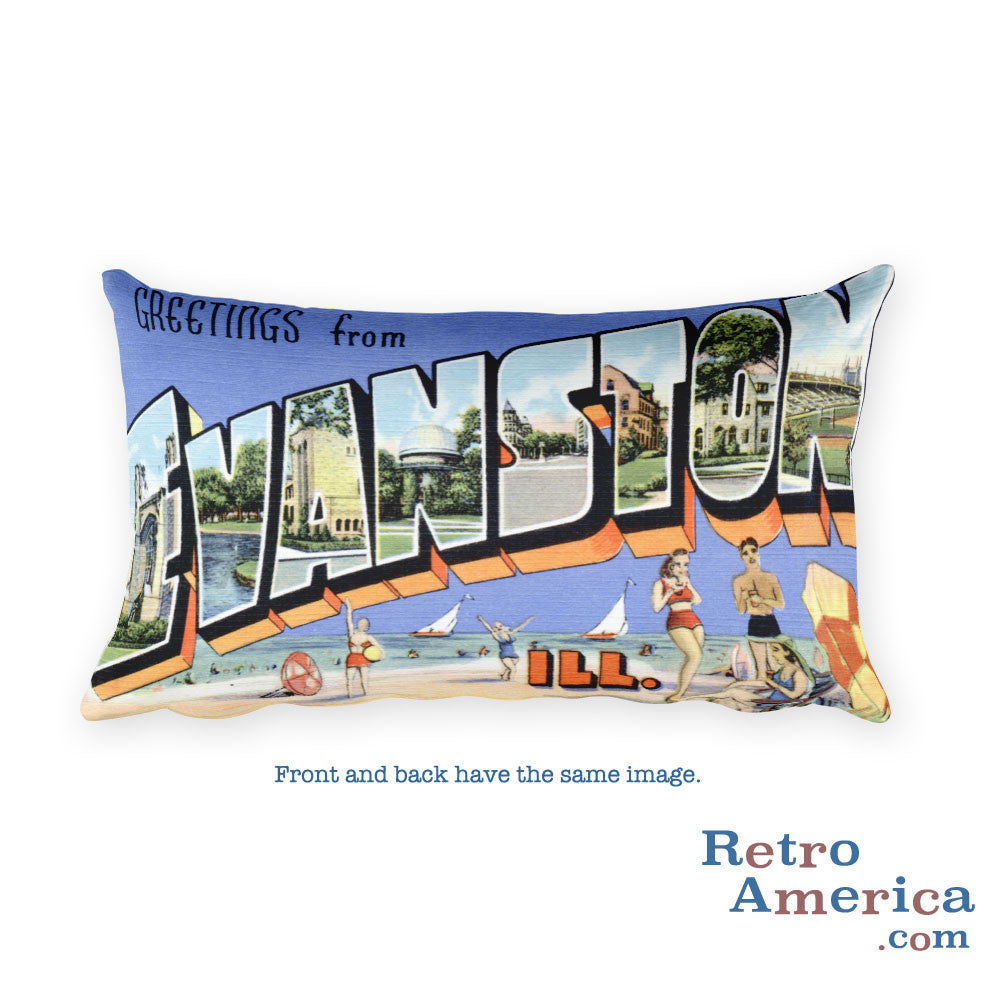 Greetings from Evanston Illinois Throw Pillow