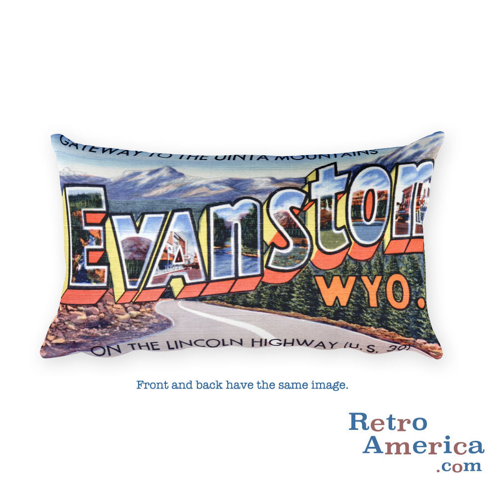 Greetings from Evanston Wyoming Throw Pillow