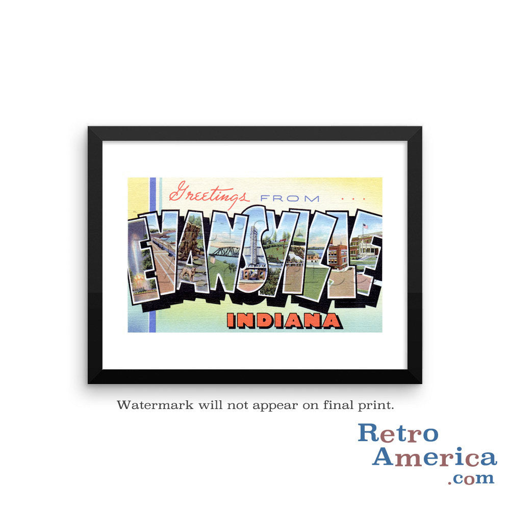 Greetings from Evansville Indiana IN Postcard Framed Wall Art