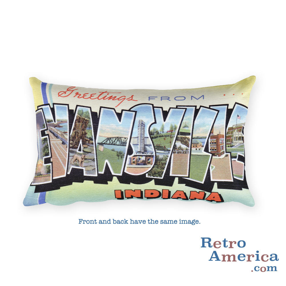 Greetings from Evansville Indiana Throw Pillow
