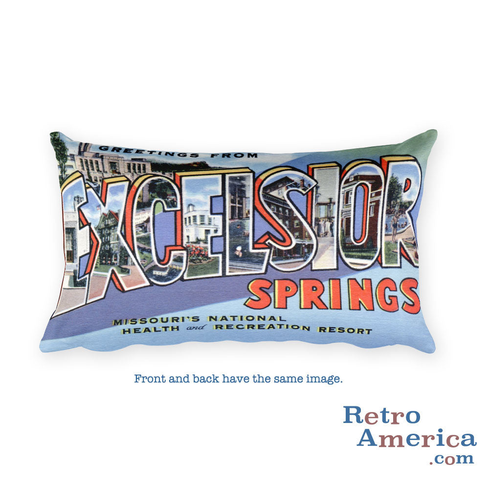 Greetings from Excelsior Springs Missouri Throw Pillow