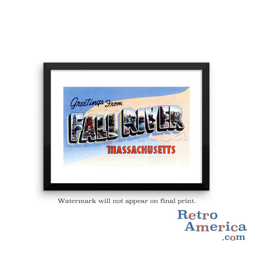 Greetings from Fall River Massachusetts MA Postcard Framed Wall Art