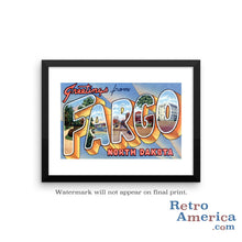 Greetings from Fargo North Dakota ND 1 Postcard Framed Wall Art