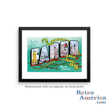 Greetings from Fargo North Dakota ND 3 Postcard Framed Wall Art