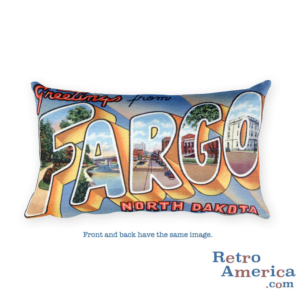 Greetings from Fargo North Dakota Throw Pillow 1