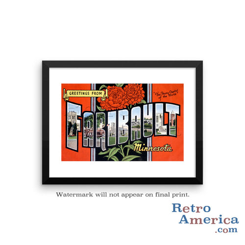 Greetings from Faribault Minnesota MN Postcard Framed Wall Art