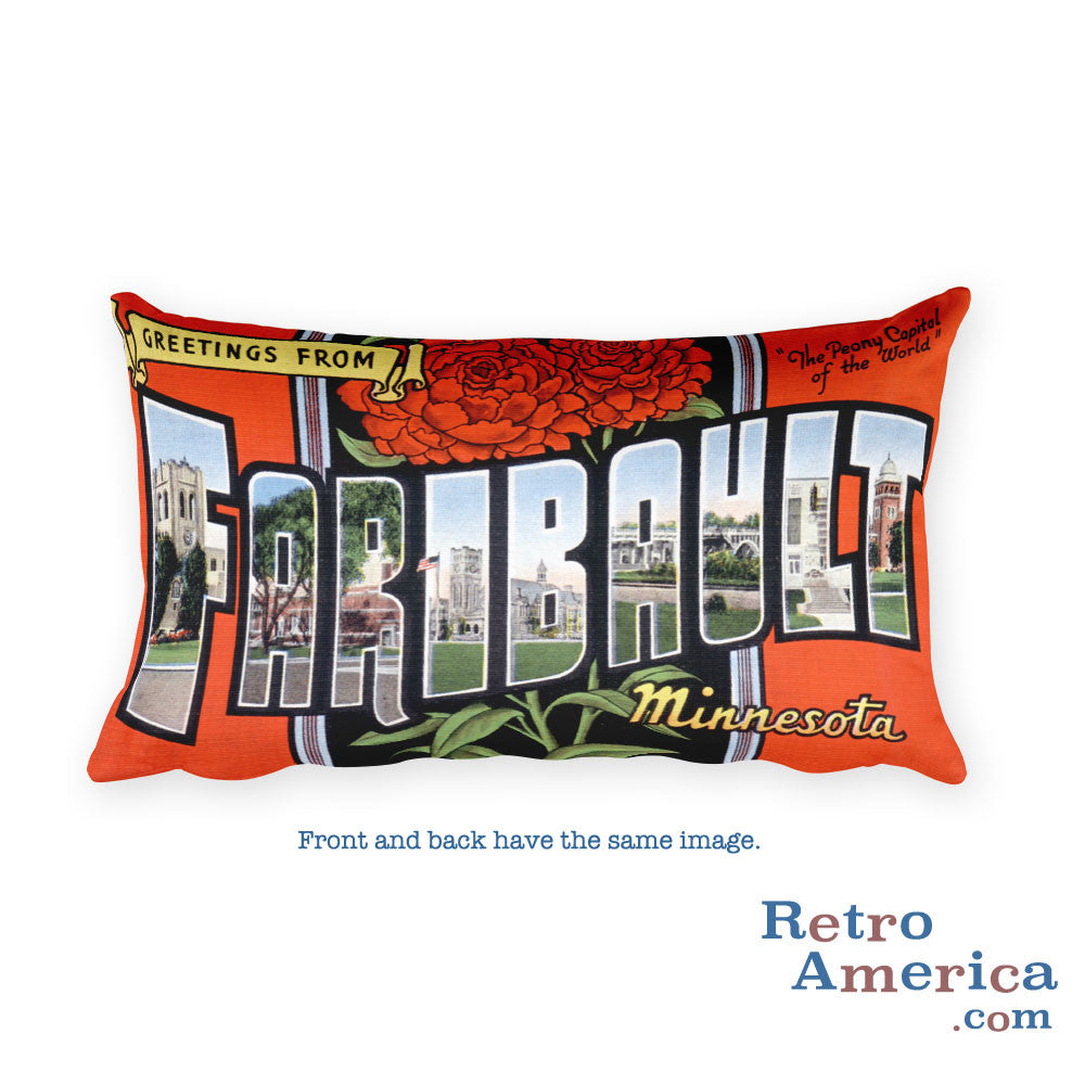 Greetings from Faribault Minnesota Throw Pillow