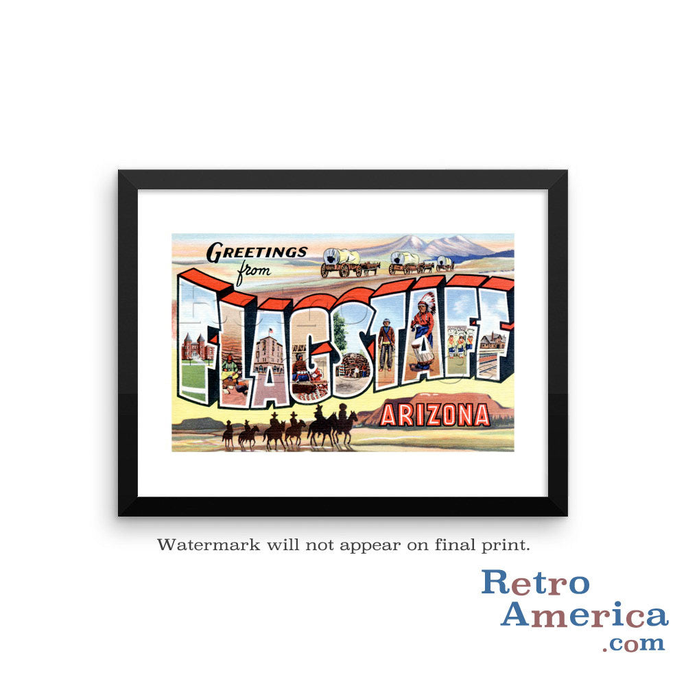 Greetings from Flagstaff Arizona AZ Postcard Framed Wall Art