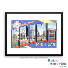 Greetings from Flint Michigan MI Postcard Framed Wall Art