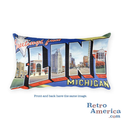 Greetings from Flint Michigan Throw Pillow