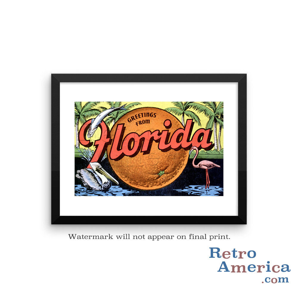 Greetings from Florida FL 2 Postcard Framed Wall Art