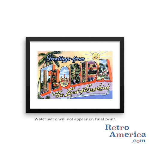 Greetings from Florida FL 3 Postcard Framed Wall Art
