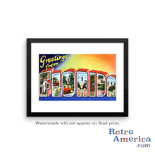 Greetings from Florida FL 4 Postcard Framed Wall Art