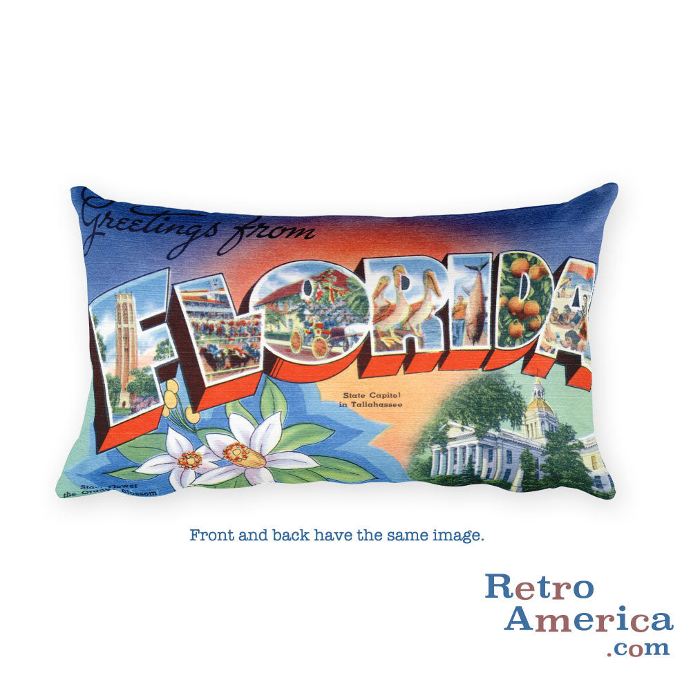 Greetings from Florida Throw Pillow 1
