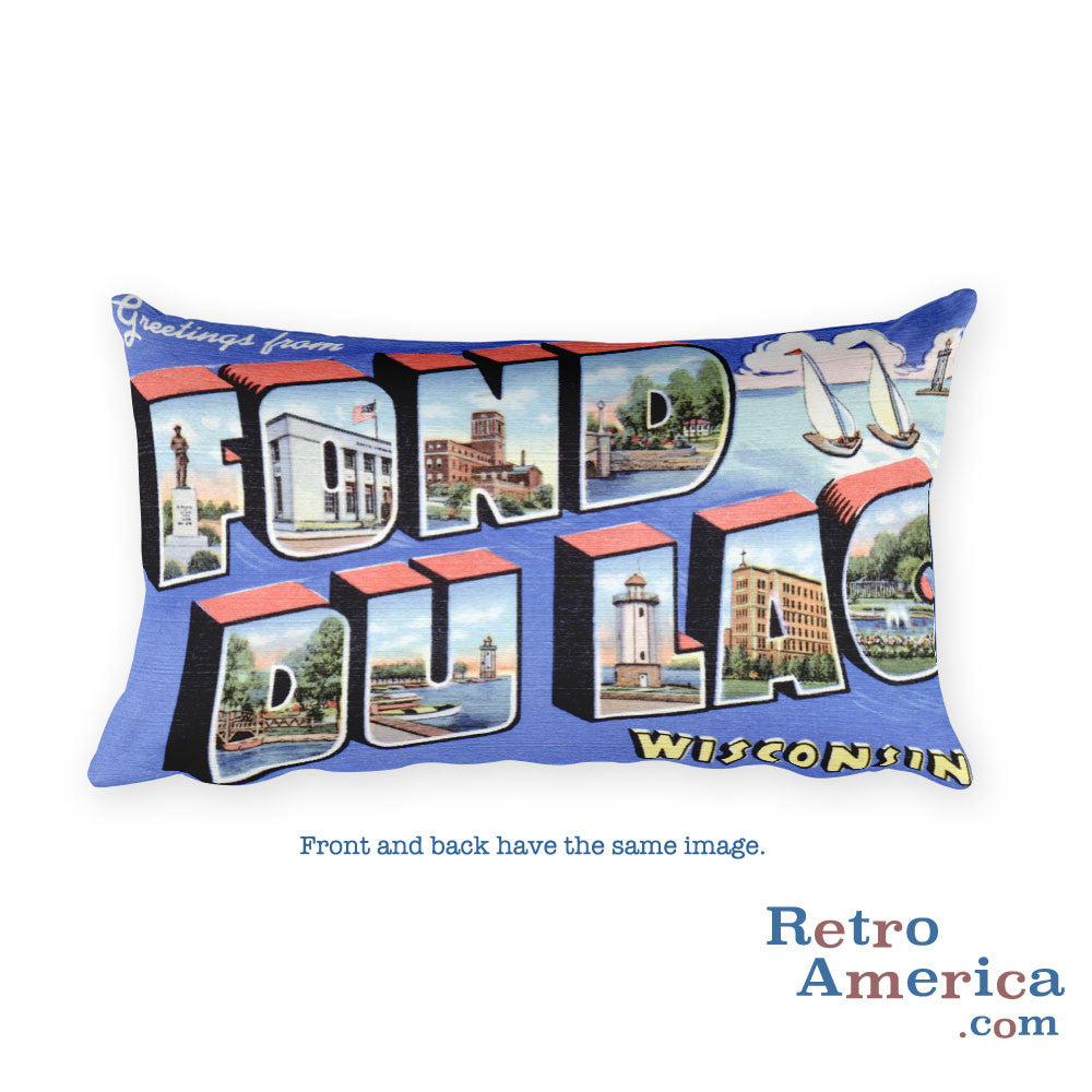 Greetings from Fond Du Lac Wisconsin Throw Pillow