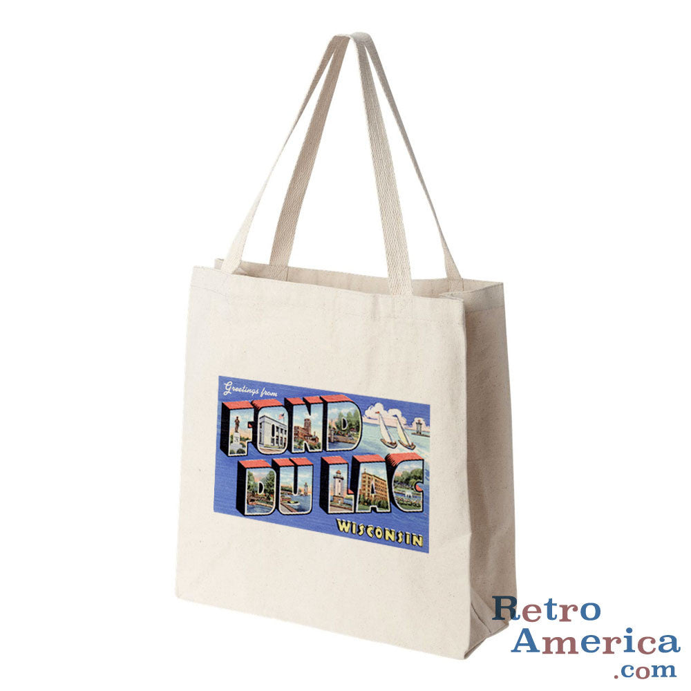 Greetings from Fond Du Lac Wisconsin WI Postcard Tote Bag