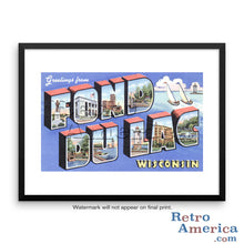 Greetings from Fond Du Lac Wisconsin WI Postcard Framed Wall Art